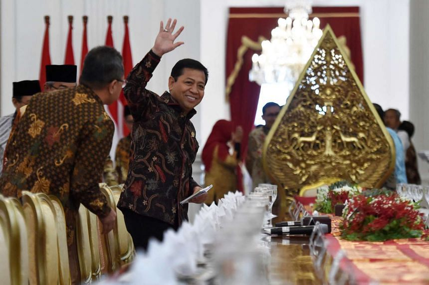The speaker of Indonesia's parliament, Setya Novanto, waves before meeting with Indonesian President Joko Widodo at the Presidential Palace in Jakarta, Indonesia on March 14, 2017.
