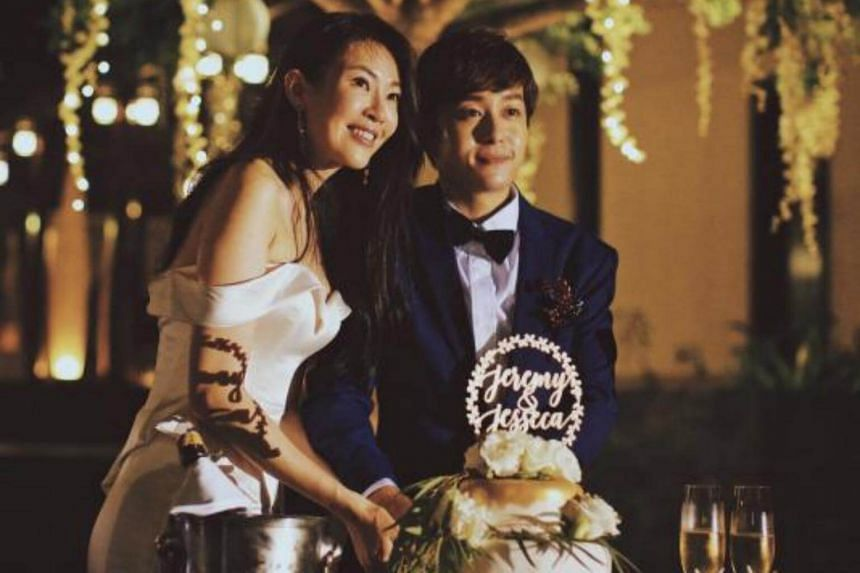 Jesseca Liu, 38, and Jeremy Chan, 36, tied the knot on Sunday, after going out for three years.
