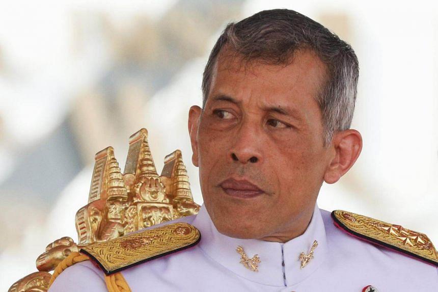 Thailand's King Maha Vajiralongkorn watches the annual Royal Ploughing Ceremony in central Bangkok, Thailand, on May 12, 2017.