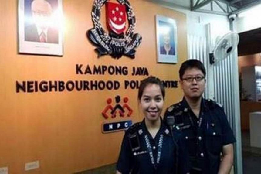 Inspector Loh Loong Ee (left) was attending to a case of suspected vice activity together with Staff Sergeant Xavier Seow when the attempted bribe occurred.
