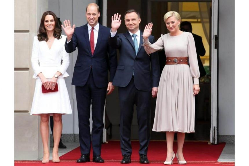 (From left) Catherine, Duchess of Cambridge, Britain's Prince William, Polish President Andrzej Duda and his wife Agata Kornhauser-Duda at the Presidential Palace in Warsaw, Poland, on July 17, 2017.