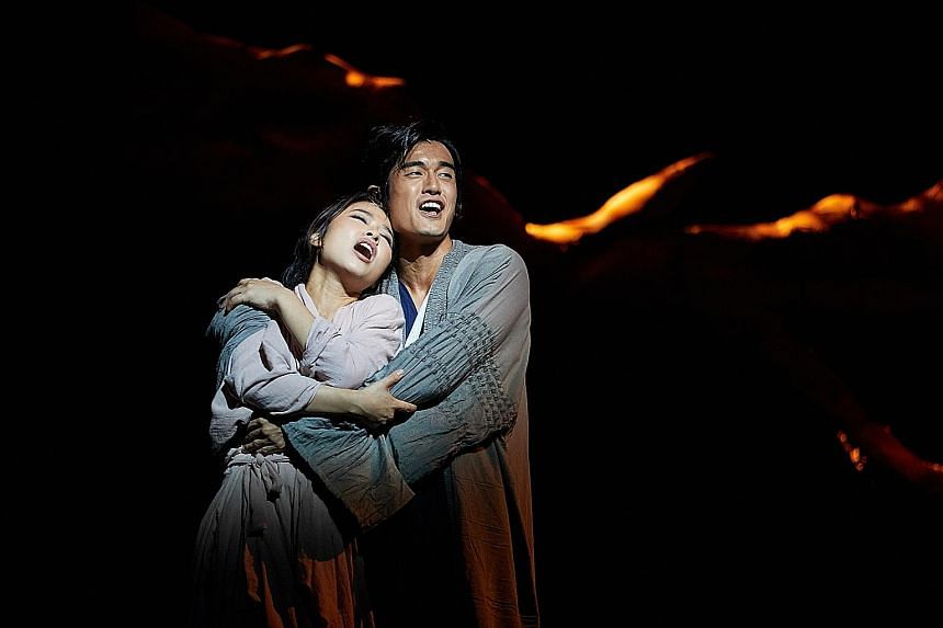 Na Young Jeon and Nathan Hartono play husband and wife in The Great Wall: One Woman's Journey.
