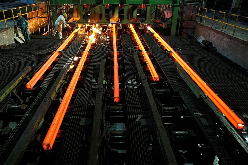 A Hangzhou Iron & Steel Group Company workshop in Hangzhou in China's Zhejiang province. Economic figures from China today, such as for industrial production, could play a part in swaying market sentiment here.