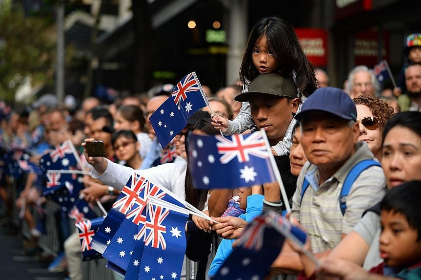 The crowd at an Anzac Day parade in Sydney in April. An Australian Bureau of Statistics census has revealed the dramatic demographic impact of the rapid influx of migrants from Asia in recent years, especially China and India. Perhaps one of the most