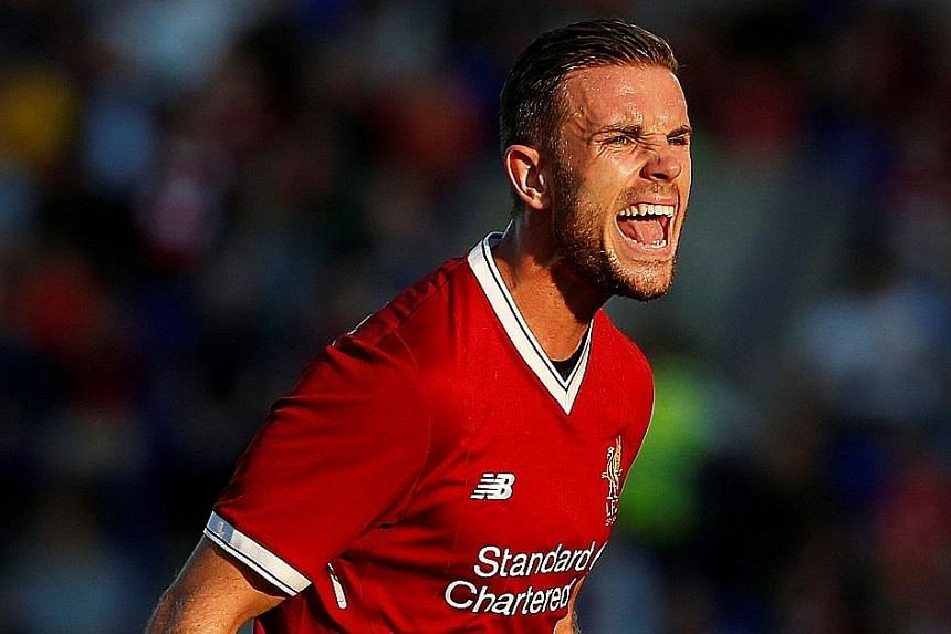 Liverpool captain Jordan Henderson playing against Tranmere in a friendly last Wednesday, having recovered from his latest foot injury.