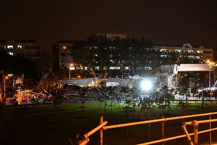 The collapsed structure at the Upper Changi Road East viaduct project site.
