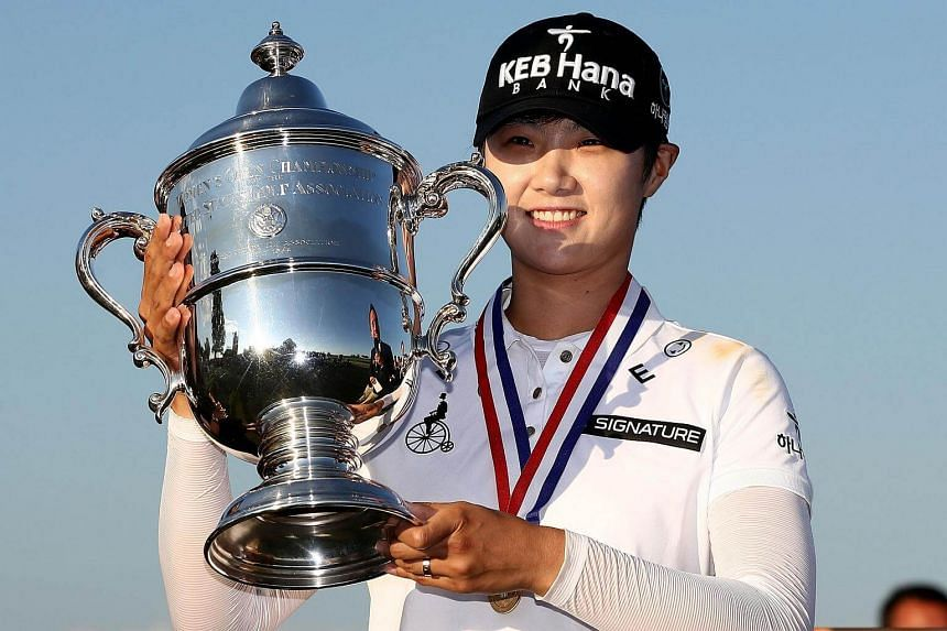 Park Sung Hyun poses with the trophy after the final round of the US Women's Open on July 16, 2017.