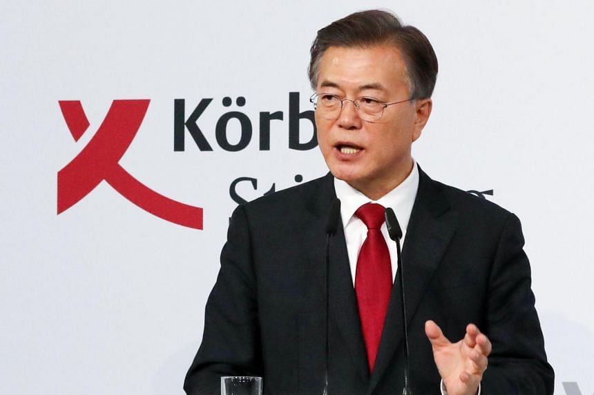 South Korean President Moon Jae-in gives a speech at the Korber Foundation in Berlin, Germany on July 6, 2017.