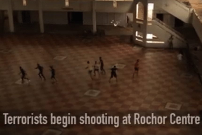 The anti-terror exercise took place in the vacated Rochor Centre.