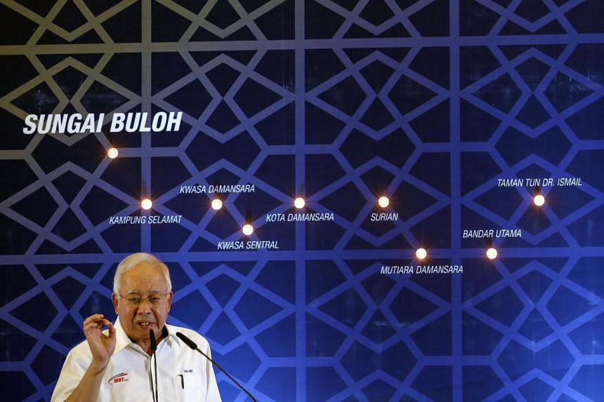 Malaysian Prime Minister Najib Razak speaks during the launch of the second phase of the first Mass Rapid Transit (MRT) Line at Kuala Lumpur.
