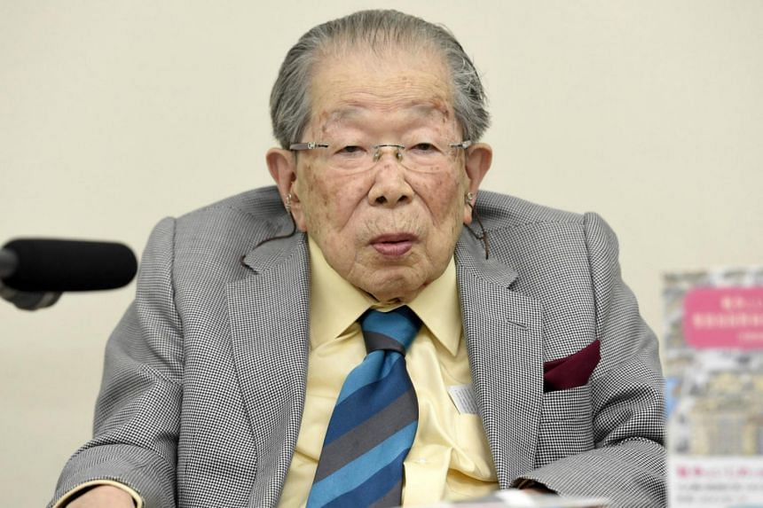 Japanese doctor Shigeaki Hinohara attending a news conference in Tokyo, Japan in this photo taken by Kyodo, on Sept 25, 2015.