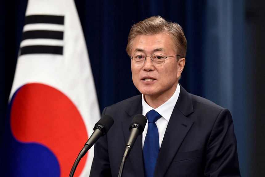 South Korea's President Moon Jae In speaking during a press conference.