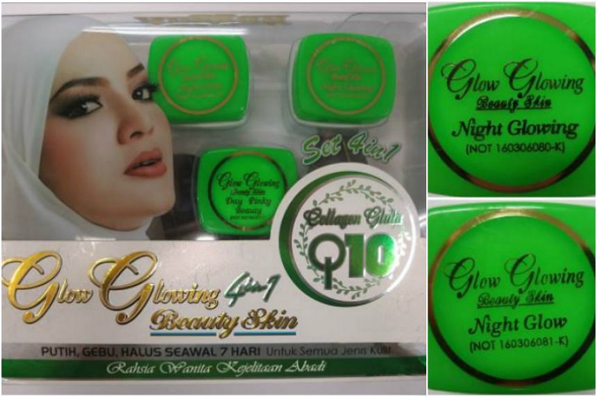 Two creams in the Glow Glowing cosmetic set sold online were found to contain very high mercury levels and other potent prohibited ingredients.