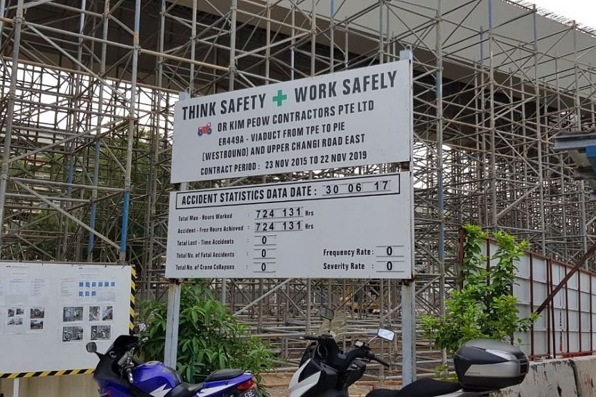 The safety board at the uncompleted viaduct has not been updated.