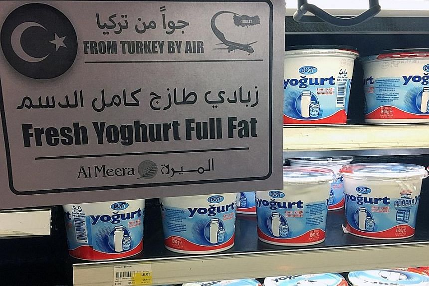 Supermarkets in Doha, Qatar, are now well-stocked with imported products, such as yogurt from Turkey.