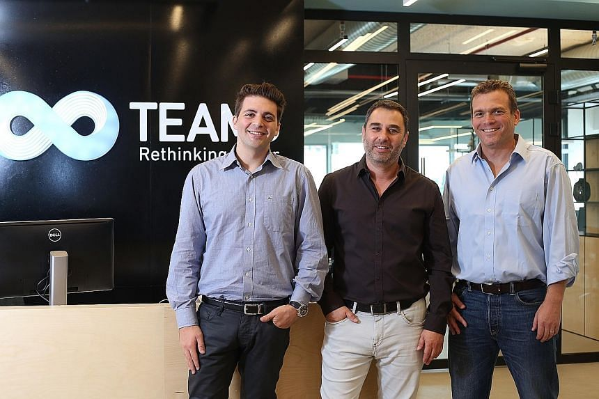 """(From left) Team8 co-founders Liran Grinberg, Israel Grimberg and Nadav Zafrir, who are alumni of the Israeli Defence Forces. Mr Zafrir, the CEO, says the start-up accelerator provides a """"platform for leaders and entrepreneurs to build innovative, ca"""