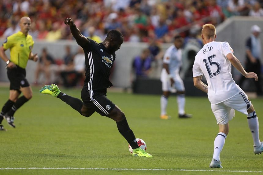 Manchester United's Romelu Lukaku in action during a match against Real Salt Lake, on July 17, 2017.