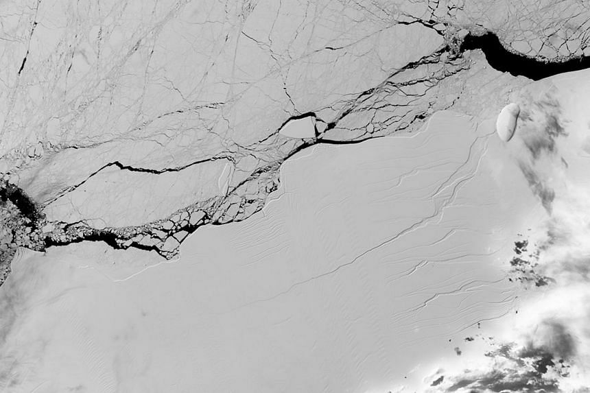 A handout photo made available by NASA on July 13, 2017 shows a satellite image acquired by the Operational Land Imager on the NASA/USGS Landsat 8 spacecraft of a long crack in the Larsen C ice shelf in the Antarctic Peninsula, Antarctica on March 8,