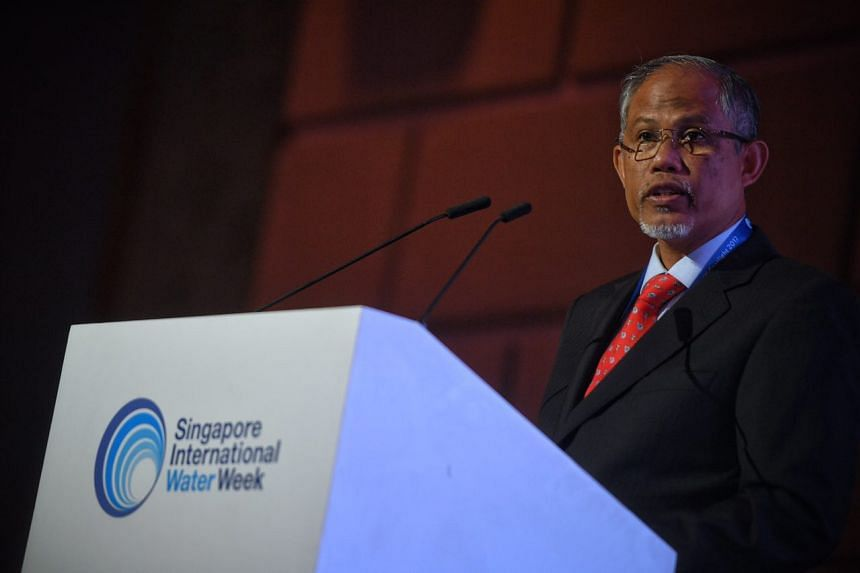 Minister for the Environment and Water Resources Masagos Zulkifli speaking at the International Water Week (SIWW) Spotlight event, on July 18, 2017.