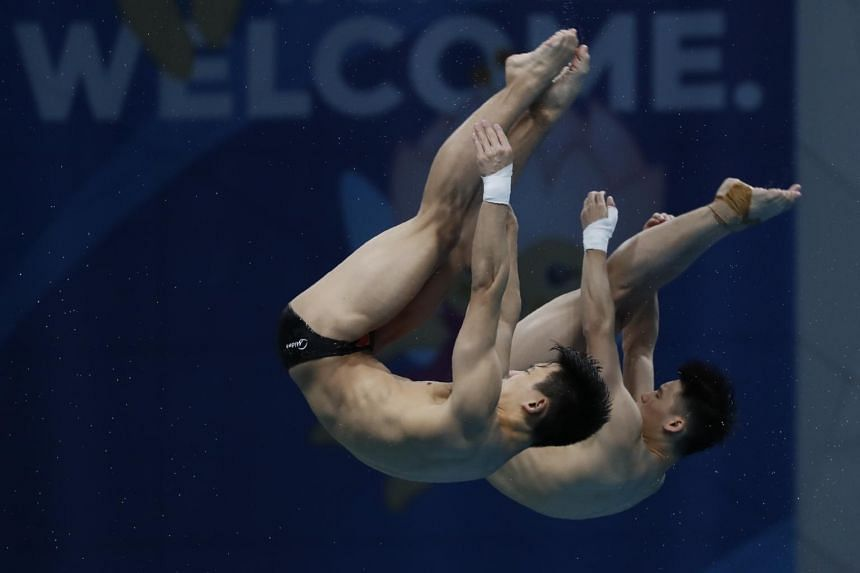 Aisen Chen and Hao Yang of China compete in the 17th Fina World Aquatics Championships 10m Platform Synchro Men preliminary in Budapest, Hungary on July 17, 2017.