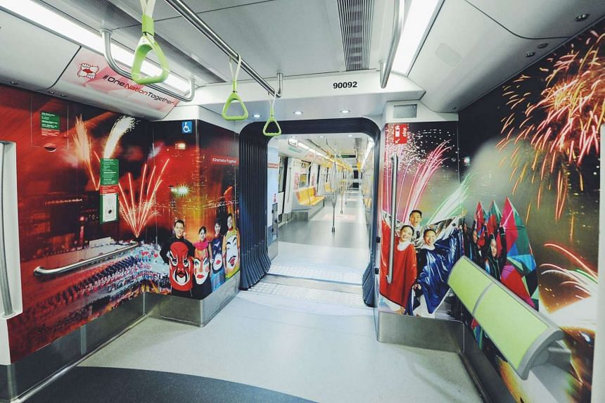 The four trains on each of the four major MRT lines will feature highlights of this year's National Day Parade.