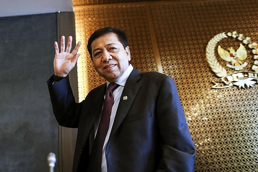 Indonesia's Speaker Setya Novanto denied graft accusations at a press conference in Parliament, in Jakarta, yesterday.