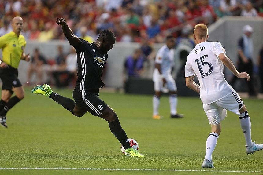 Romelu Lukaku making his second Manchester United appearance in a friendly against Real Salt Lake. He got his first goal for his new club in the 38th minute.