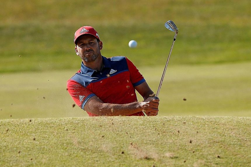 World No. 5 Sergio Garcia playing out of a bunker during a practice round at Royal Birkdale. He was runner-up at The Open in 2007 and 2014.