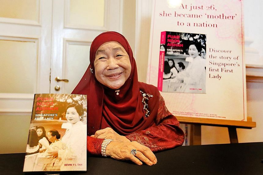 Puan Noor Aishah at the launch of the book Puan Noor Aishah: Singapore's First Lady yesterday. The 200-page biography offers a glimpse into the eventful life of the 84-year-old, who has largely kept out of the limelight since the death of her husband