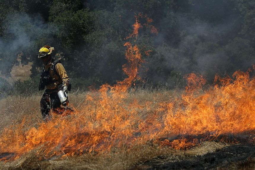 Above: A sign at a petrol station in British Columbia, Canada, on Monday. Left: A fireman using a drip torch to light dry grass during controlled burn training on Sunday, in San Rafael, California. A wildfire in the village of Podstrana, near the Adr