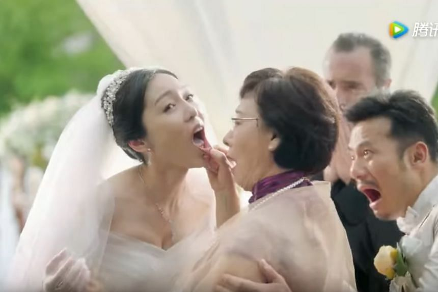 """The mother of the groom eushed up the aisle to """"inspect"""" her would-be daughter-in-law."""