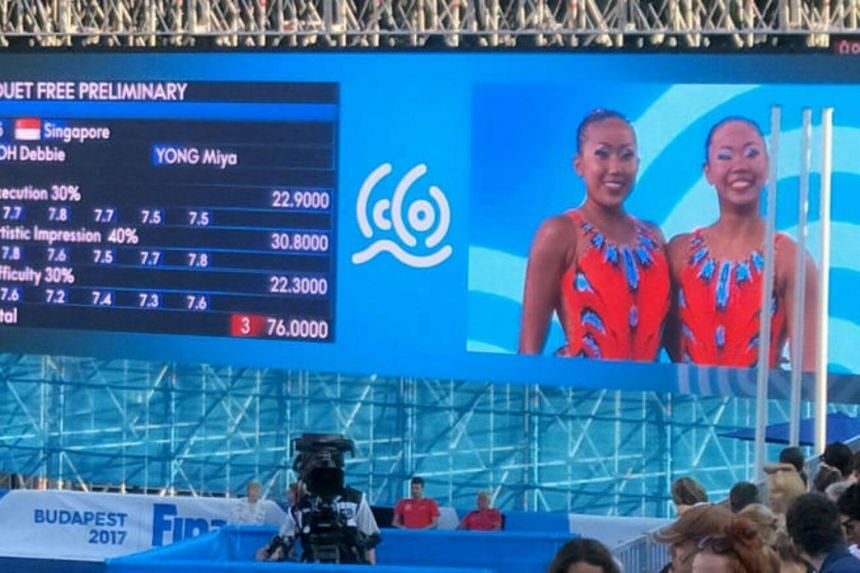 Singapore synchronised swimmers Debbie Soh (left) and Miya Yong scored a 76.000 in the women's duet free event at the Fina World Championships on July 18, 2017.