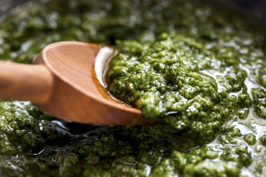 The mozzarella is best when marinated in this pesto-like sauce while the pasta boils.