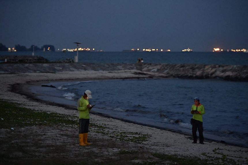 Two contractors from the National Environment Agency checking on the oil spill at around 7.30pm.