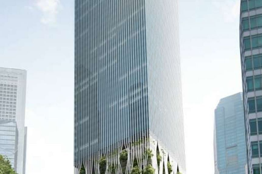 An artist's impression of the CapitaLand-led 51-storey tower to be developed at the Golden Shoe Car Park site in Raffles Place.