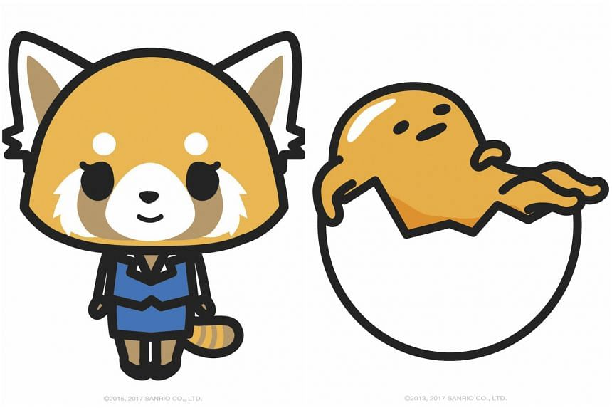 Two of Sanrio's latest characters, Aggretsuko (left), a white-collar red panda, and Gudetama, a gender-ambiguous egg yolk.