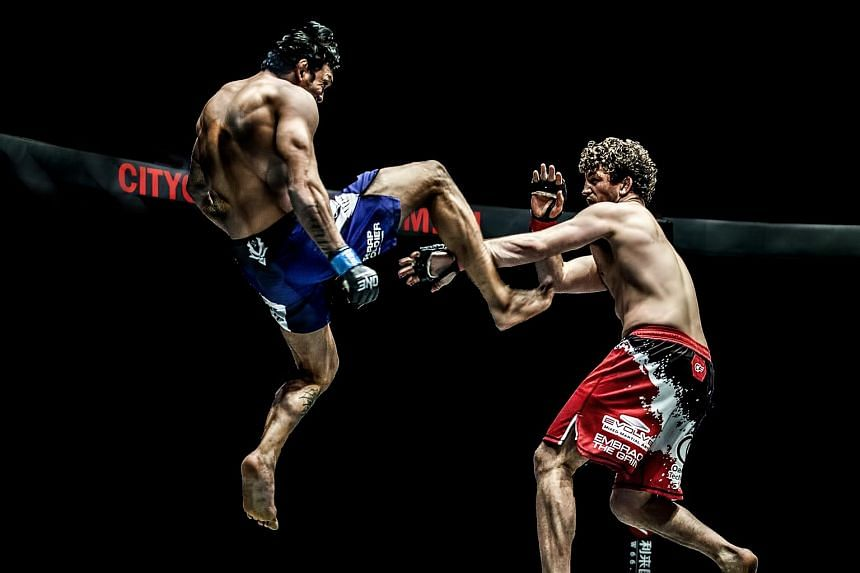 Mr Chatri Sityodtong, One Championship chairman and CEO, called the Sequoia and Mission deals the biggest moment in the MMA firm's history. The extra funds will help it lock down prized fighters like Ben Askren, seen here fending off a kick from Braz