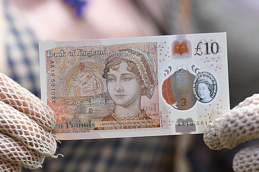 The £10 bill featuring author Jane Austen is made from a plastic material designed to last longer than a paper note.