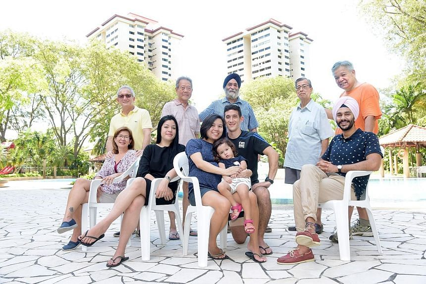 The amenities at Normanton Park include a swimming pool, a canteen, a supermarket and basketball, tennis and badminton courts. The military families of Normanton Park: Standing (from left) Mr Richard Vanderput, Lieutenant-Colonel (Ret) Kwek Boon Yong