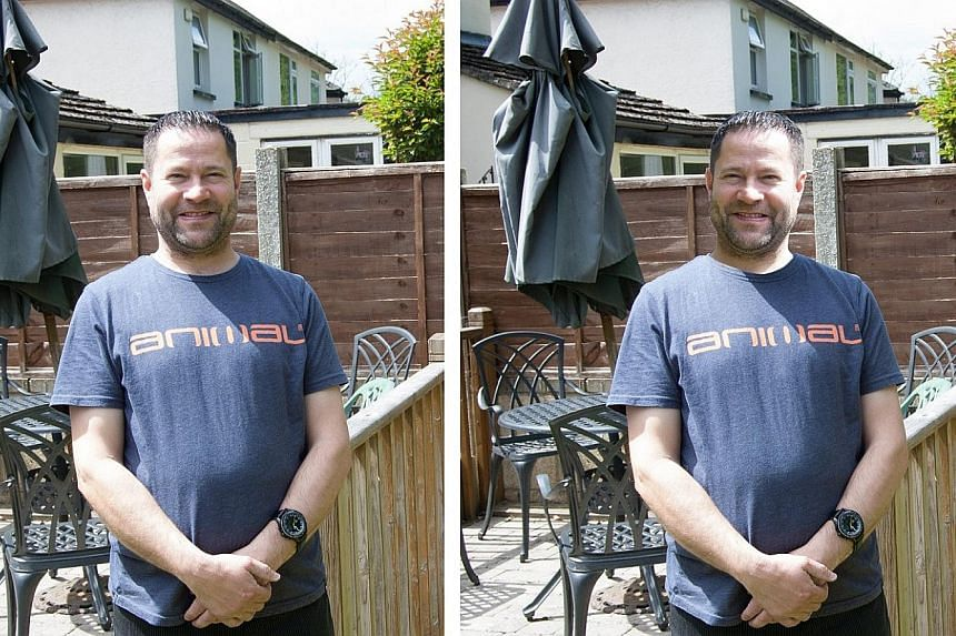 The original photo (far left) was used in a study of whether people can tell if a picture has been manipulated. In the altered photo (left), the man's face has been flipped, so that the shadow falls on the wrong side.