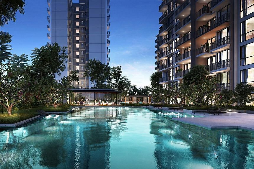 An artist's impression of the clubhouse and pool at Le Quest. The homes at the 516-unit project - from studios to four-bedders - will be spread across five 12-storey blocks and there will also be more than 6,000 sq m of retail space on the ground flo