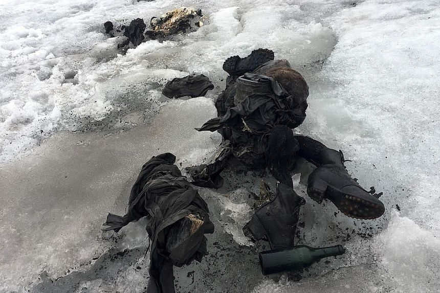 The couple were discovered last Thursday preserved in the Tsanfleuron glacier at an altitude of 2,600m. Backpacks, a watch and other personal belongings had been preserved in the ice nearby.