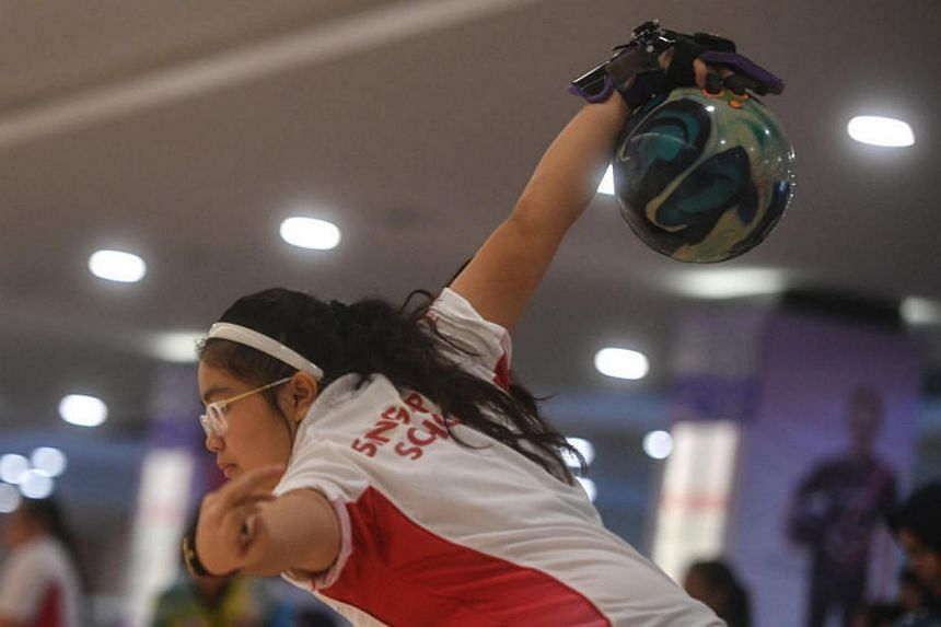 Singaporean Jenna Princess Jennifer in action during the Asean School Games Bowling Girls Doubles event held at Temasek Club on 17 July, 2017.