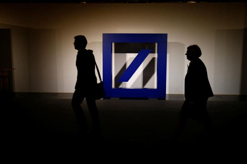 A file picture of the logo of Deutsche Bank is seen at its headquarters in Frankfurt, Germany. PHOTO: REUTERS