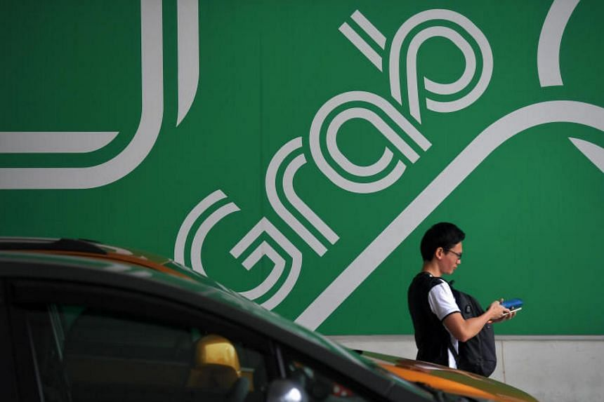 The Grab logo at its main office in Midview City at Sin Ming Lane on June 23, 2017.
