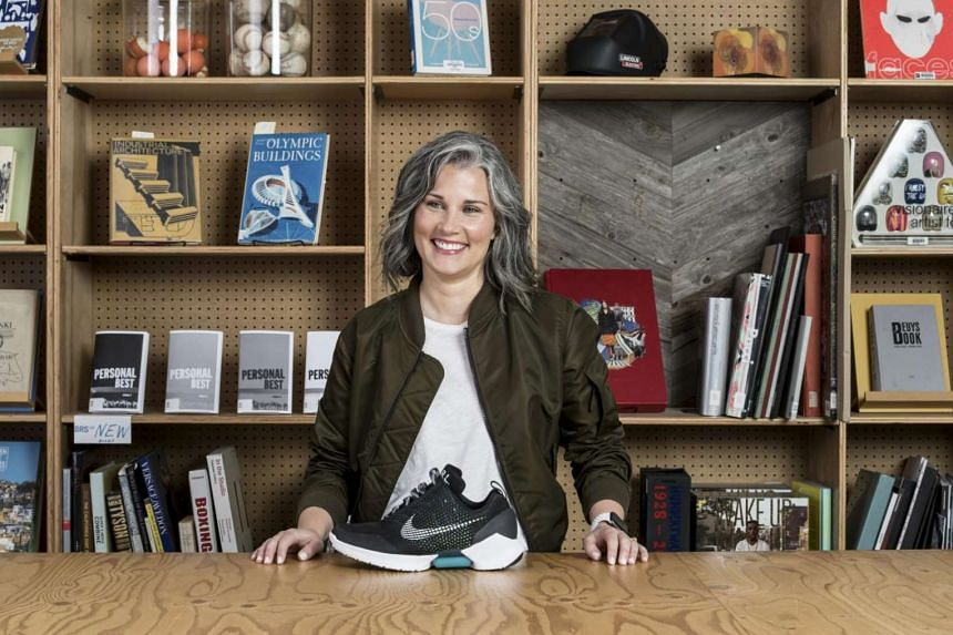 Tiffany Beers, engineer and innovator at Nike, with a sneaker prototype in Beaverton, Oregon.