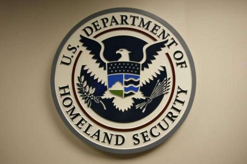 US Department of Homeland Security emblem is pictured at the National Cybersecurity & Communications Integration Center located just outside Washington in Arlington, Virginia.
