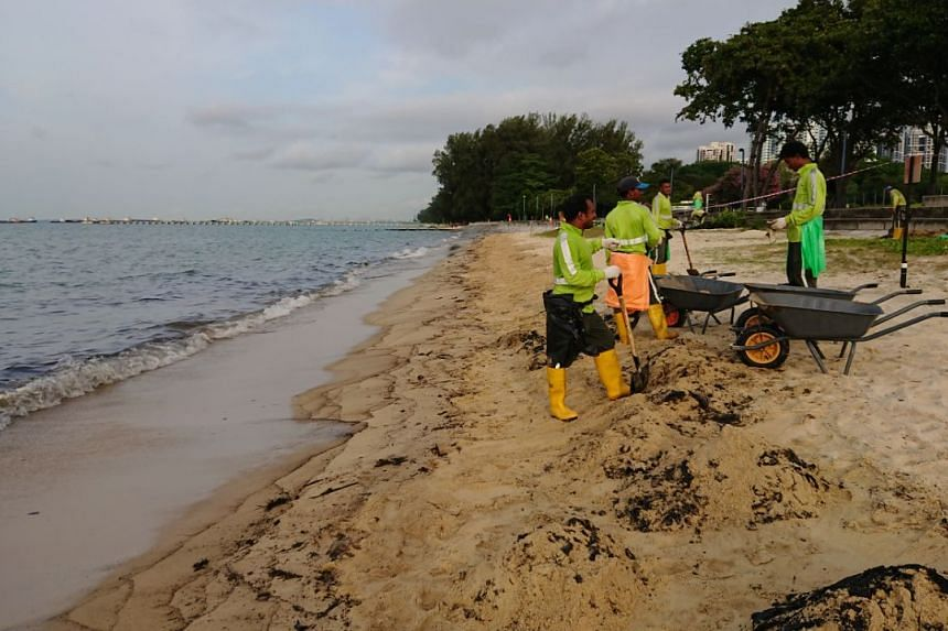 Workers cleaning up the oil spill at East Coast Park on July 20, 2017.