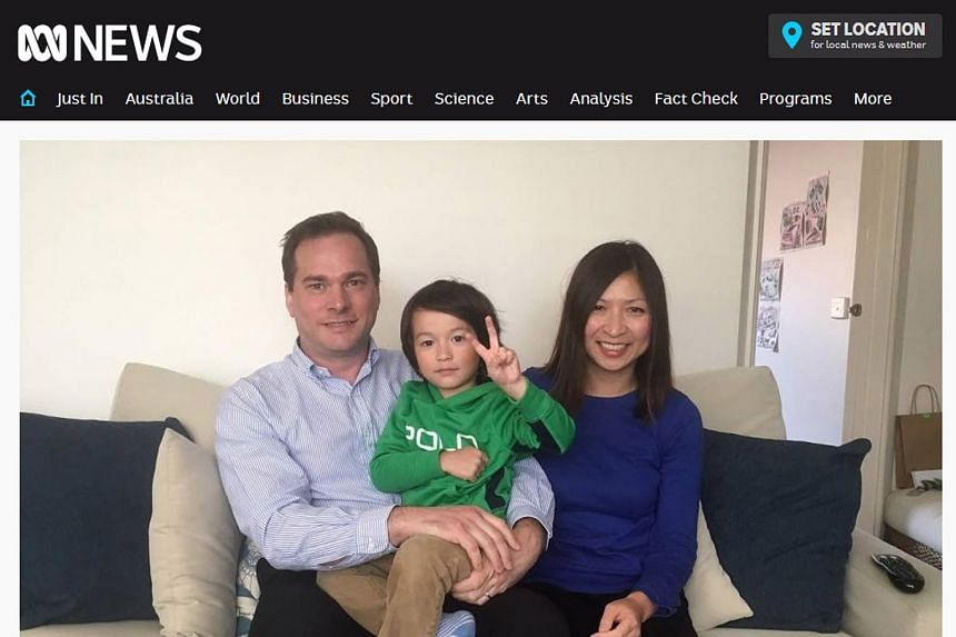 Three-year-old Marcus Daley with his parents Chris and Hong Daley, in a screengrab from ABC News. He had a severe allergic reaction when other passengers on the SIA flight opened their packets of peanuts.