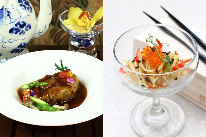Peach Blossoms' stewed wagyu oxtail in red wine sauce (left) and Shangri-La's Rasa Sentosa Resort & Spa's chilled angel hair pasta with sakura shrimp.
